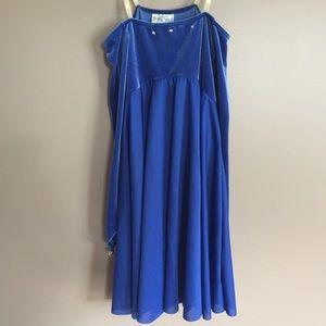 Perform dance costume blue long sleeve dress